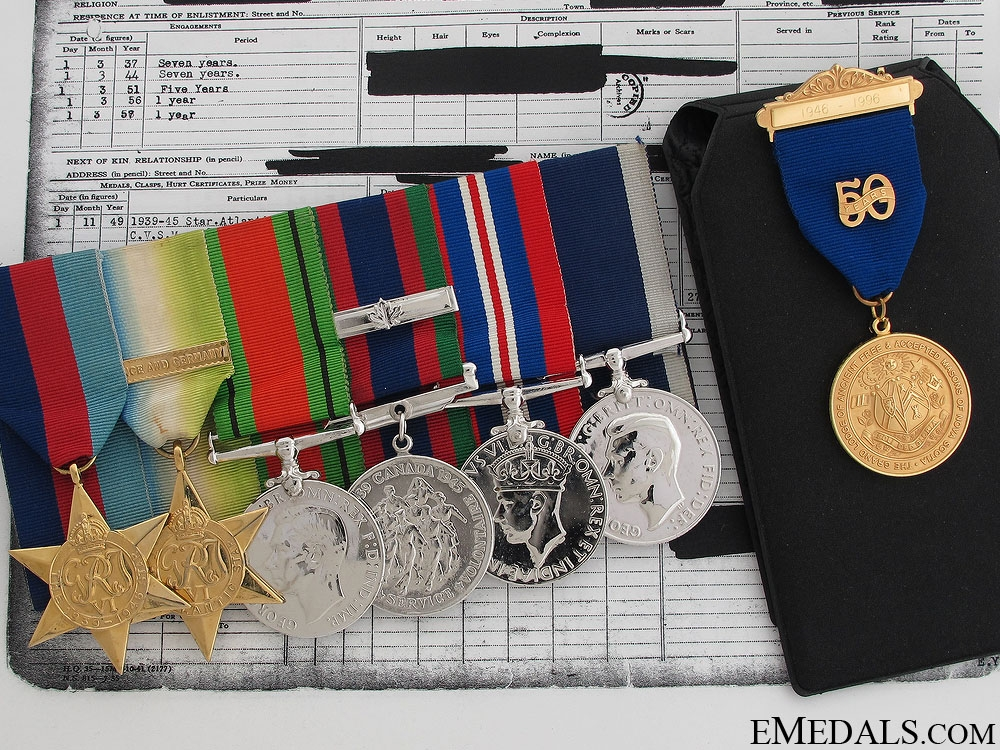 eMedals-A WWII Royal Canadian Navy Long Service Group