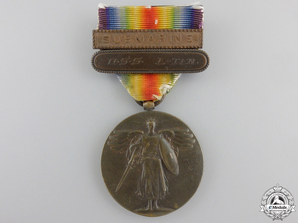 eMedals-An American First War Victory Medal to Submarine U.S.S. L-Ten