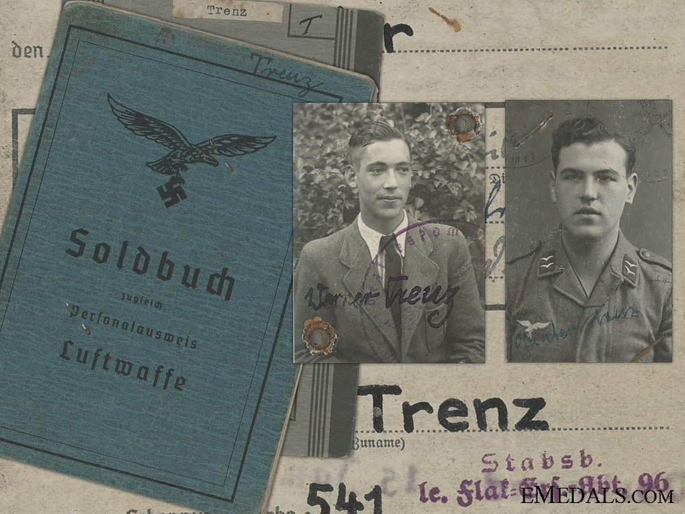 eMedals-An Army Wehrpass & Luftwaffe Soldbuch to Brothers; MIA 1944