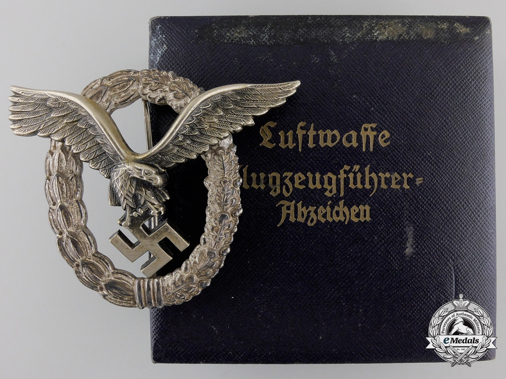 eMedals-An Early Cased Luftwaffe Pilot's Badge by Gebrder Wegerhof