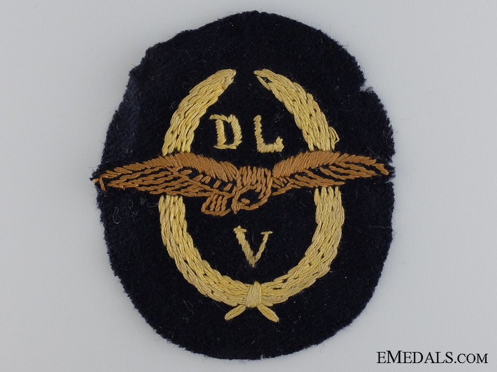 eMedals-An Early uniforme Removed 1934 DLV Cloth Patch c.1934