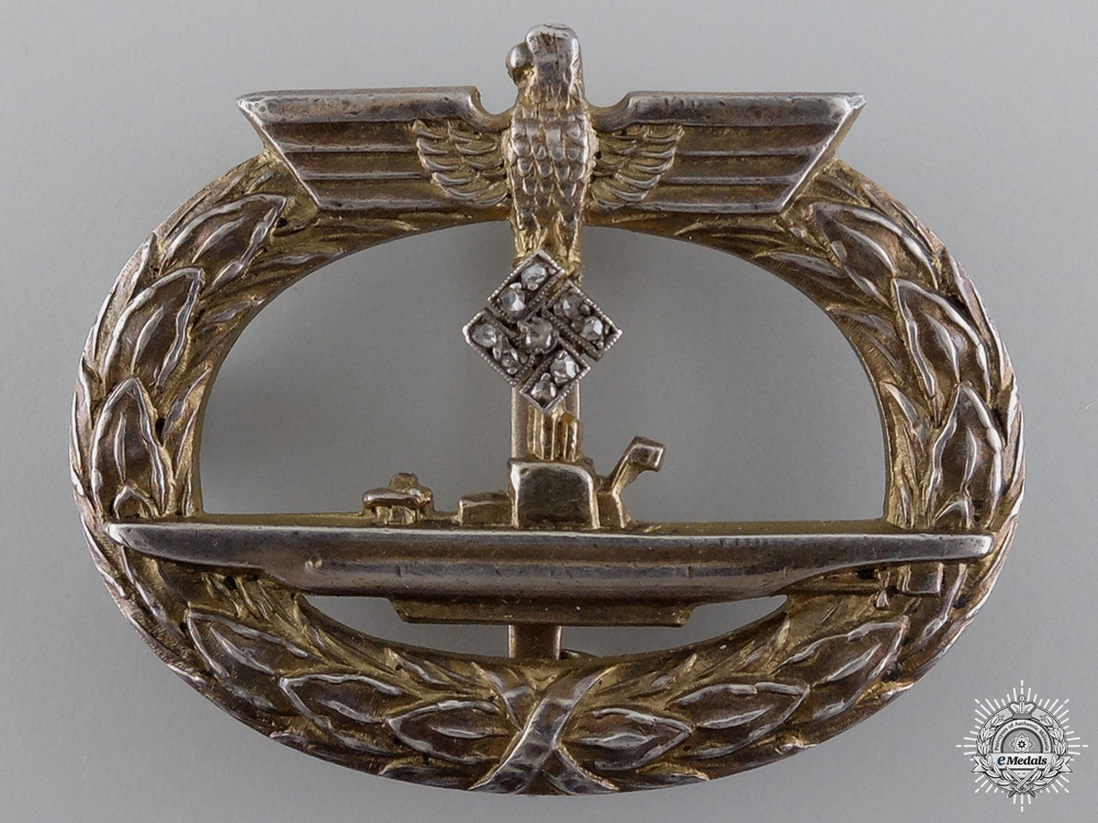 eMedals-An Extremely Rare Kriegsmarine Submarine Badge with Diamonds, Published Example