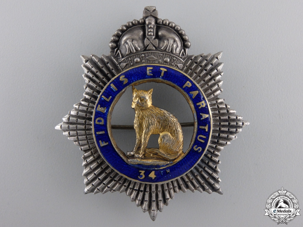 eMedals-An Officer's 34th Ontario Regiment Badge