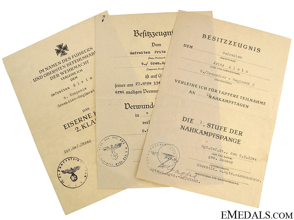 eMedals-Army Group of Documents, Gefreiten, Grenadier Rgt. 2