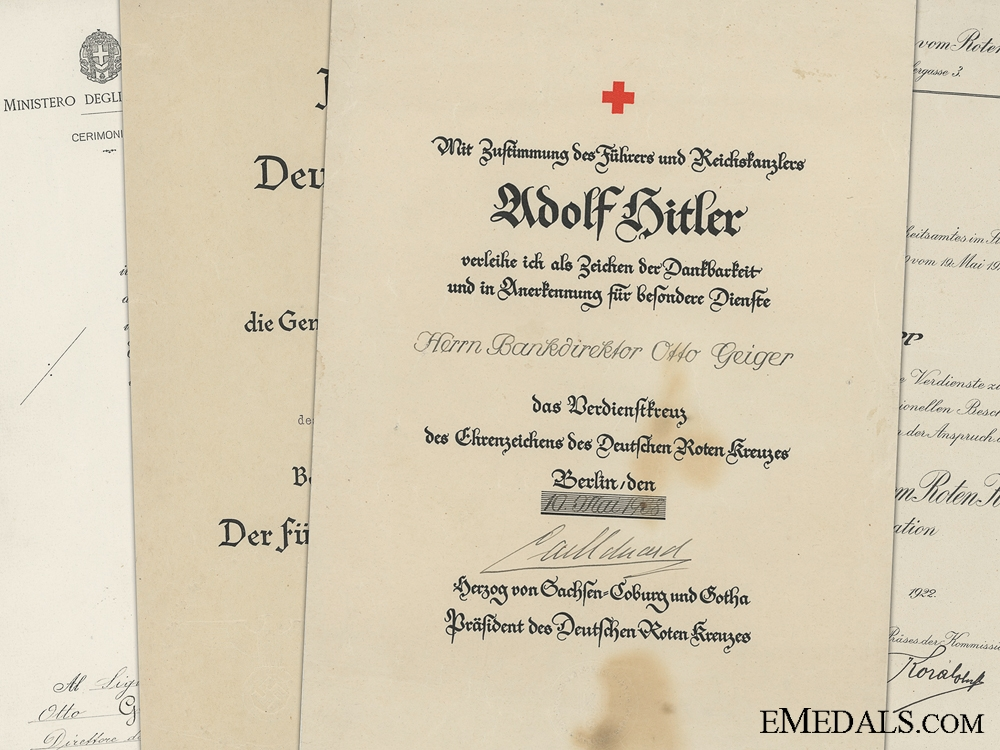eMedals-Award Documents to Otto Geiger; 1st & 2nd Class Red Cross; Italian Crown Order