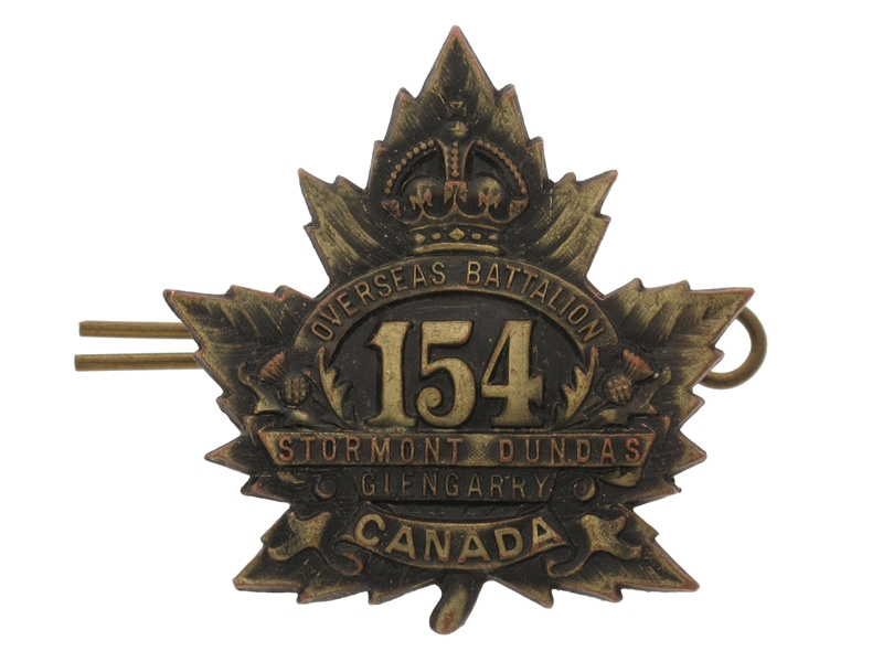 """eMedals-WWI 154th """"Stormont, Dundas and Glengarry Badge"""