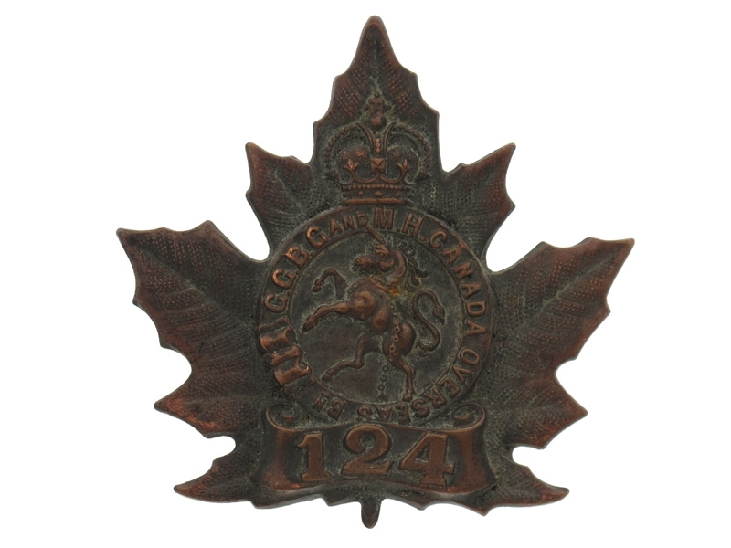 eMedals-WWI 124th Infantry Battalion Cap Badge