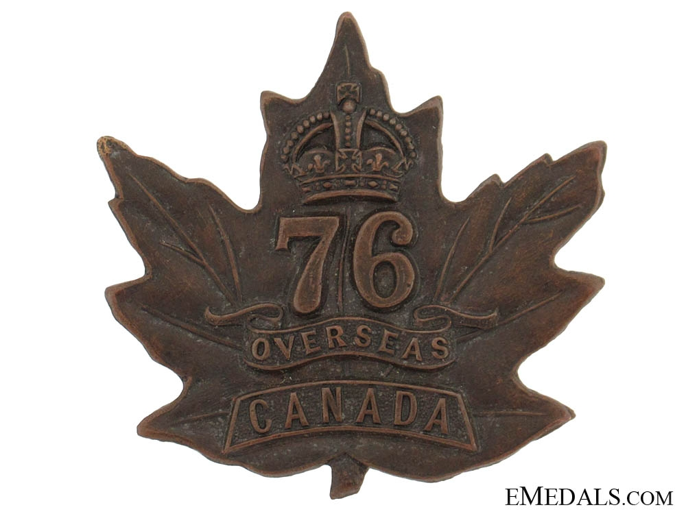 eMedals-WWI 76th Infantry Battalion Cap Badge