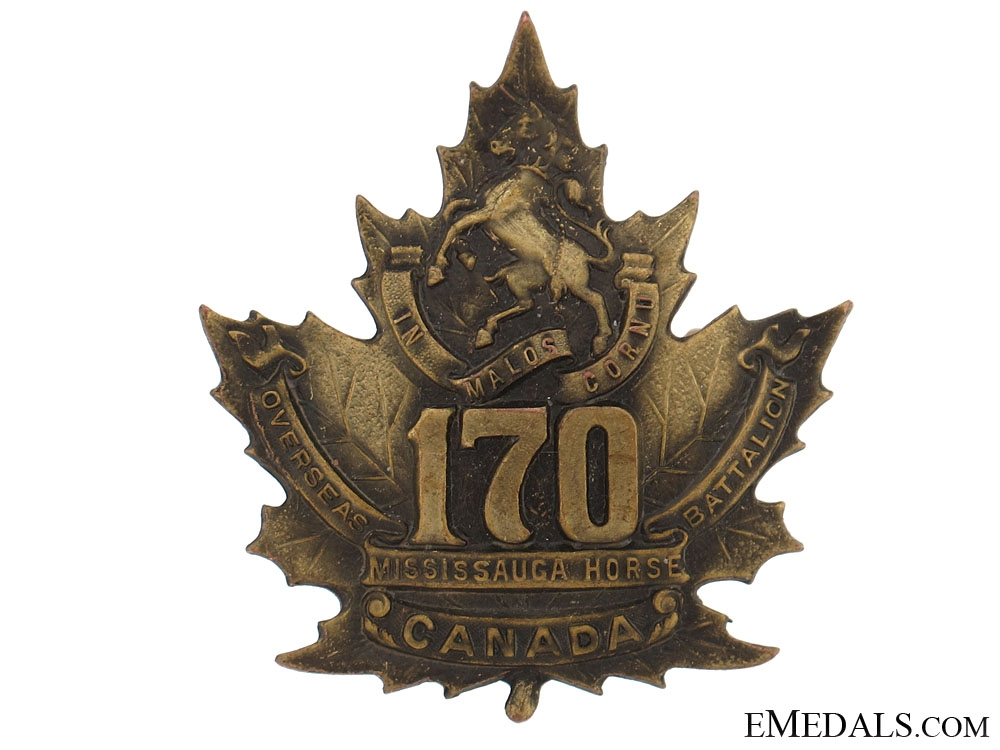 """eMedals-WWI 170th Infantry Battalion """"Mississauga Horse"""" Cap Badge"""