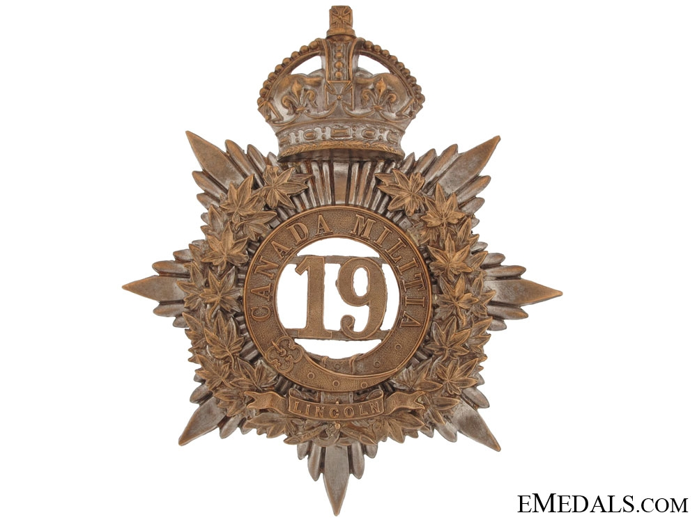 eMedals-19th (Lincoln Battalion of Infantry) Canadian Militia Helmet Plate