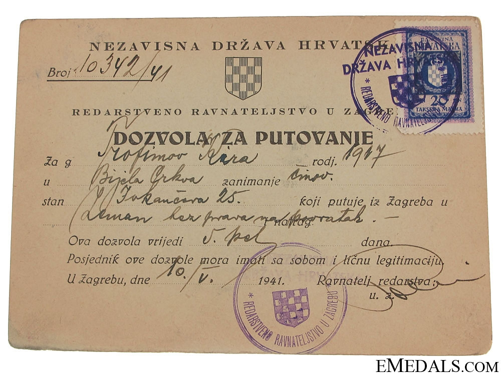 "eMedals-Croatian ""Traveling Permit"" Issued to a Serbian"