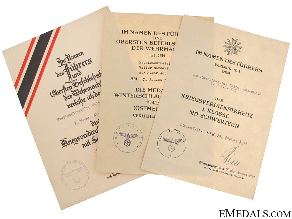 eMedals-Documents to Hauptwachtmeister Walter Markewitz