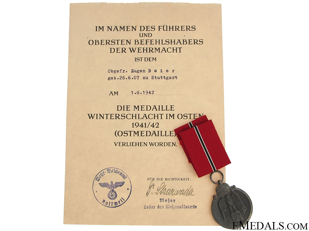 eMedals-East Medal Award & Document to Obergefreiten
