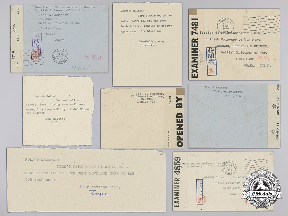 eMedals-1944 Second War POW Letters from Osaka Camp Japan