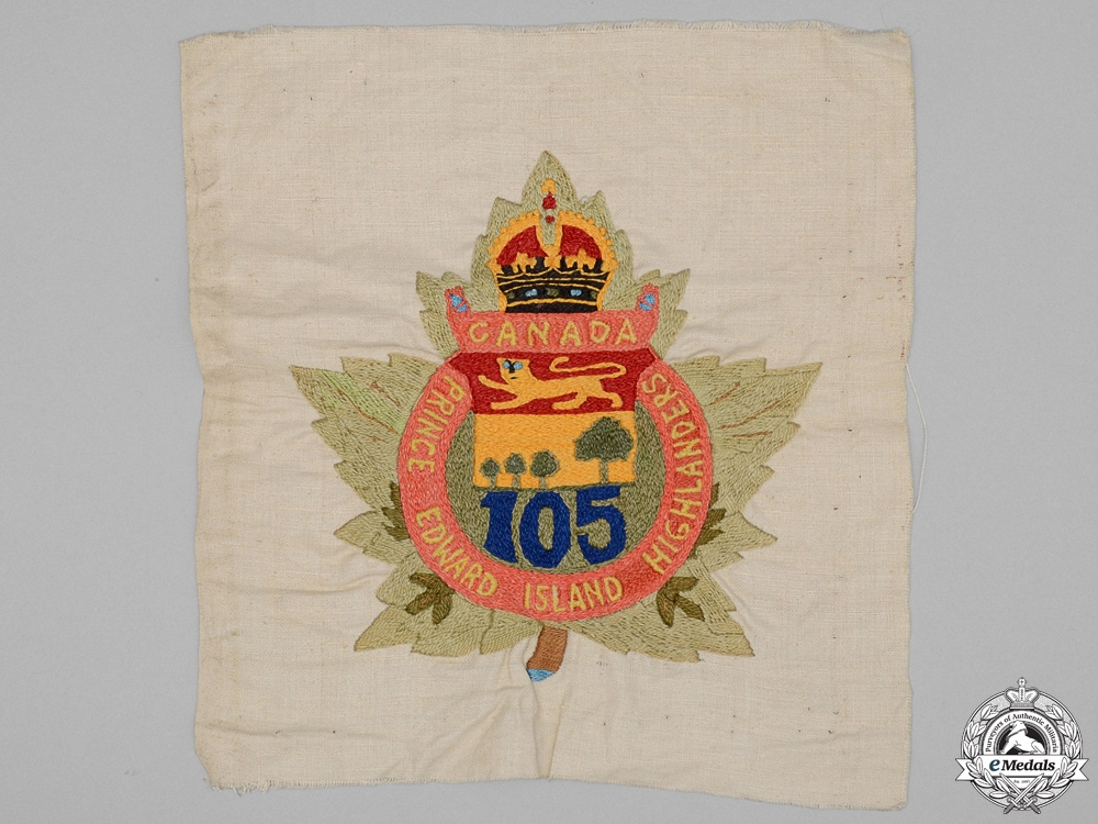 """eMedals-A First War 105th Infantry Battalion """"Prince Edward Island Highlanders"""" Tapestry"""