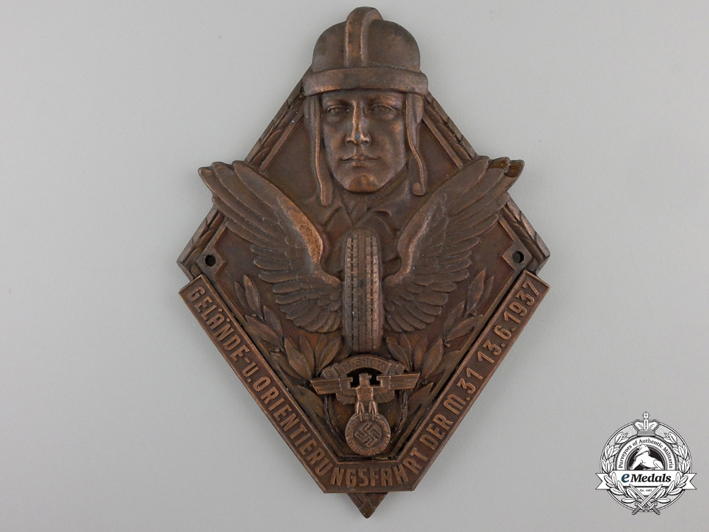 eMedals-An 1937 NSKK Terrain Orientation Motorcycle Plaque