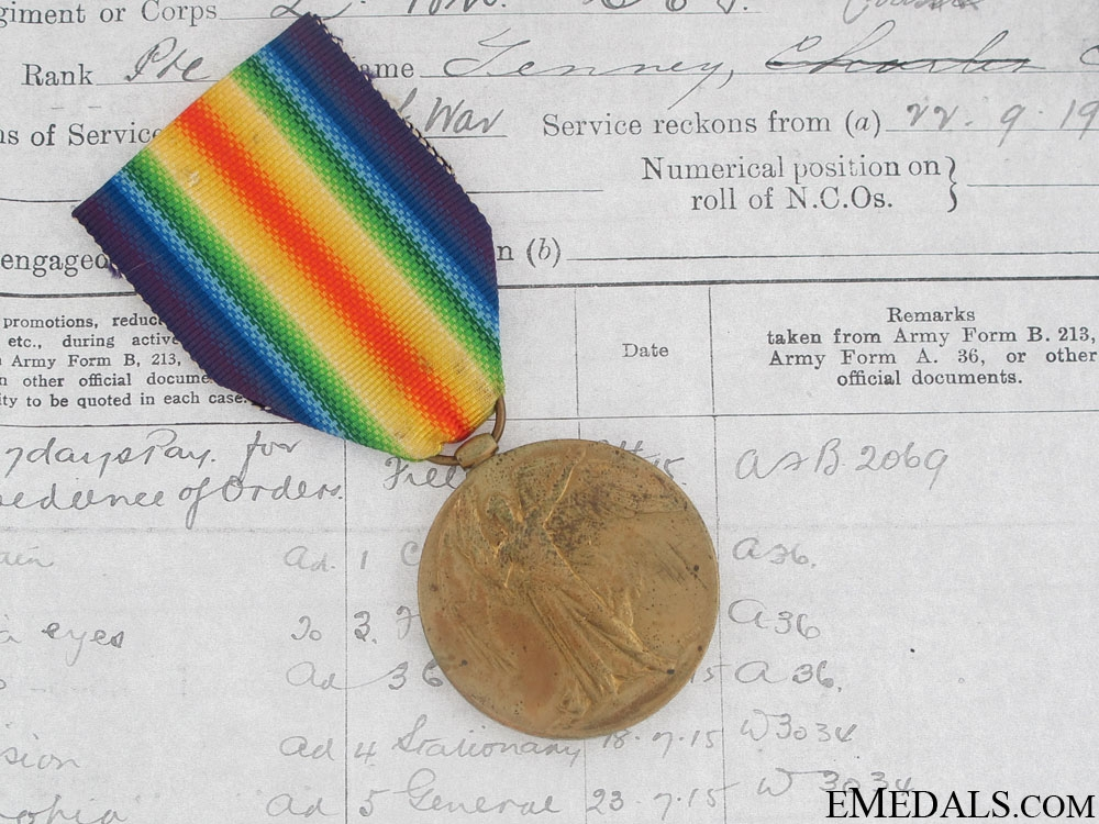 eMedals-First War Victory Medal - 2 Canadian Infantry