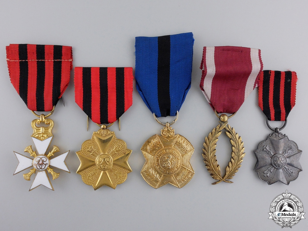 eMedals-Five Belgian Medals, Orders, and Awards