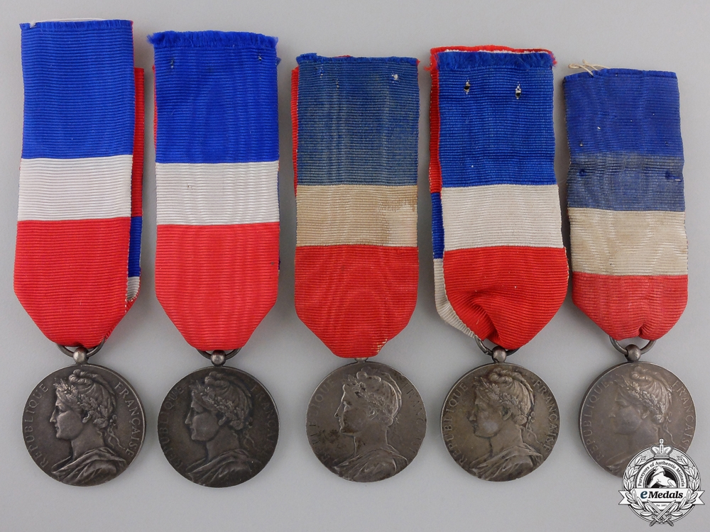 eMedals-Five French Minister of Trade and Industry Silver Grade Honour Medals