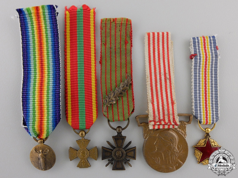 eMedals-Five Miniature French First War Medals & Awards