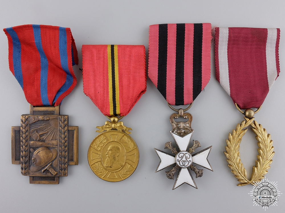 eMedals-Four Belgian Orders, Medals, and Awards