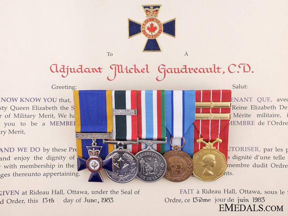 eMedals-A Canadian Order of Military Merit Group to Adjutant Joseph Gaudreault,; Royal 22nd Regiment (Van Doos)