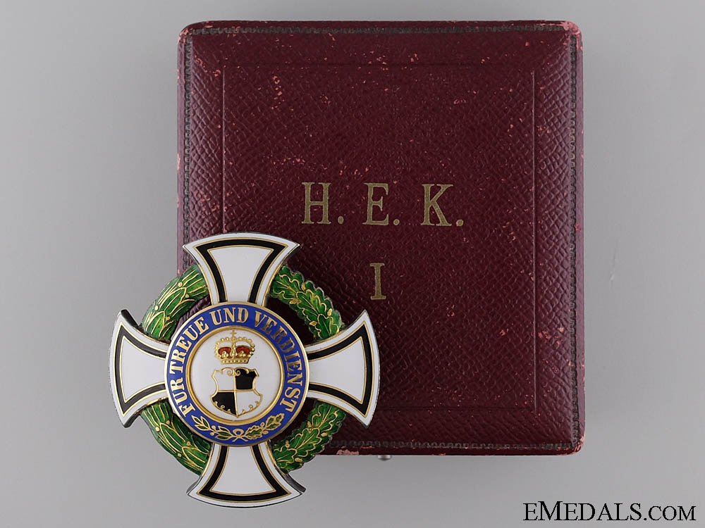 eMedals-House Order of Hohenzollern in Gold; First Class Cross Cased
