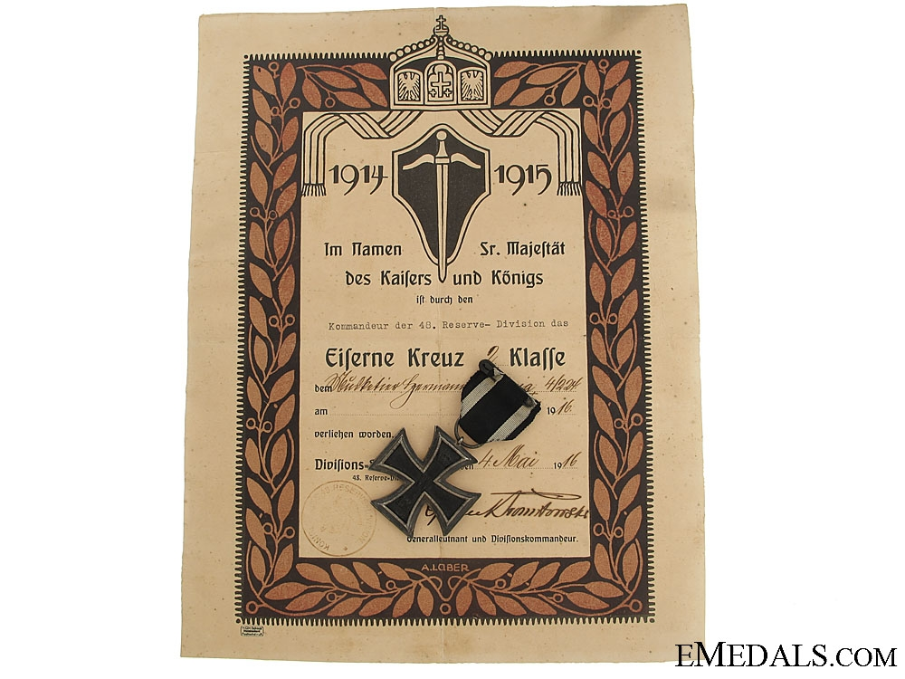 eMedals-Iron Cross 2nd Class & 48th Division Document