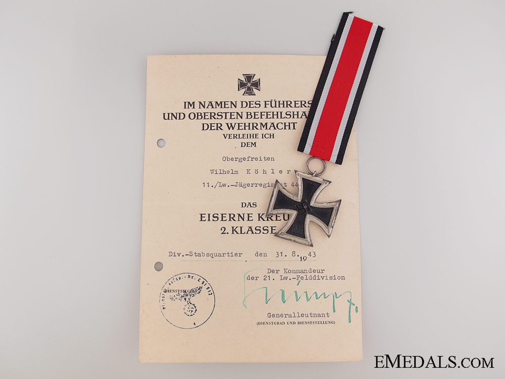 eMedals-Iron Cross 2nd Class 1939 with Award Document