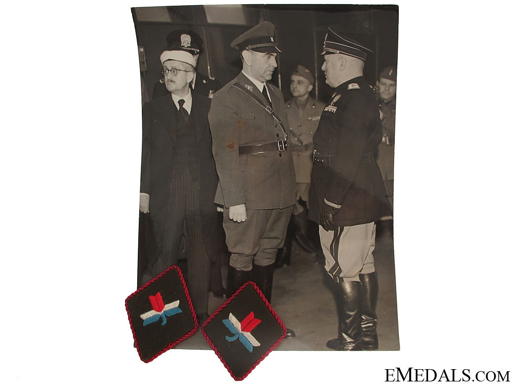 eMedals-Large Photo of Pavelic & Mussolini & Collar tabs