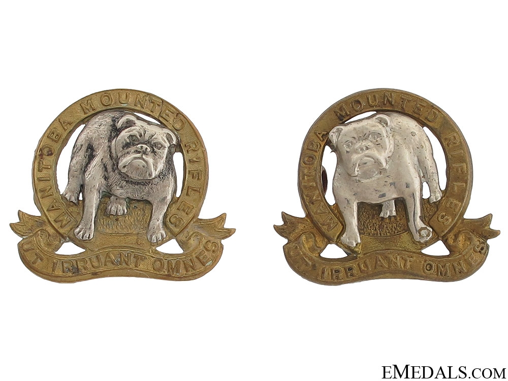 eMedals-Manitoba Mounted Rifles Officer Collar Badges
