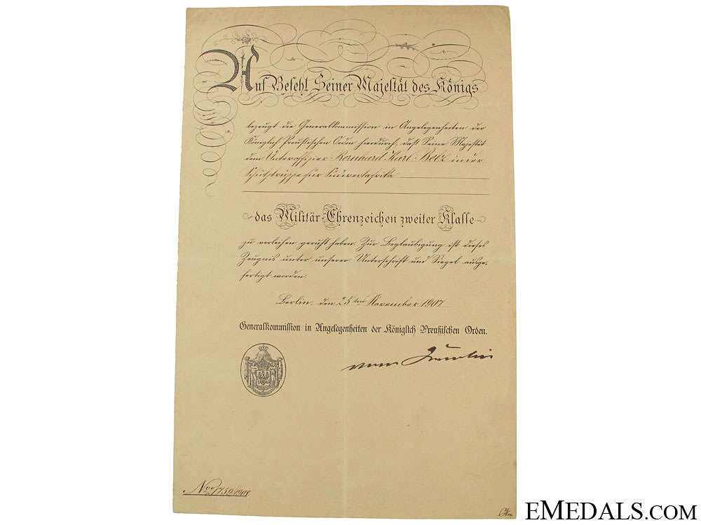 eMedals-Prussian Award Doc. for Colonial Schutztruppe SW Africa
