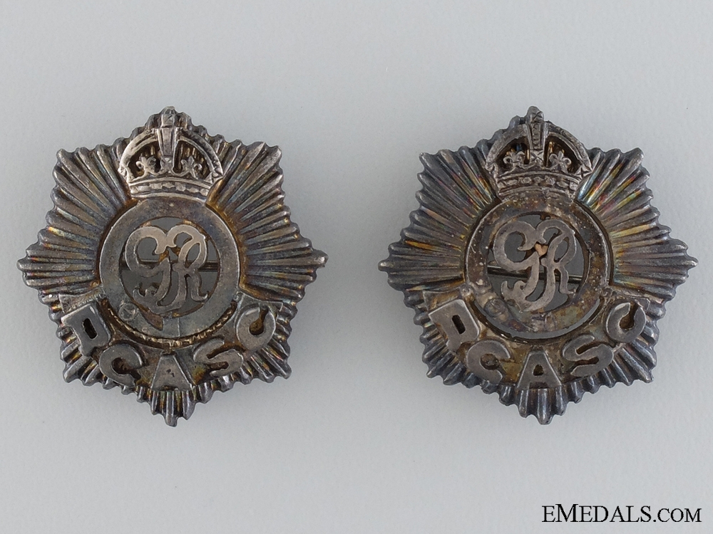 eMedals-Royal Canadian Army Service Corps (RCASC) Officer's Collar Tab Pair