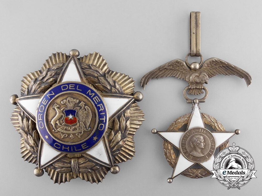 eMedals-A Chilean Order of Merit; 2nd Class Set; 1939 Model