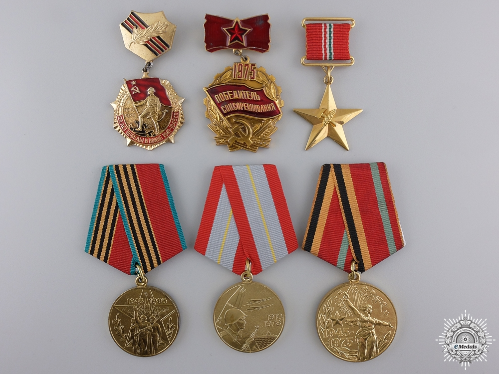 eMedals-Six Russian & Hungarian Medals and Badges