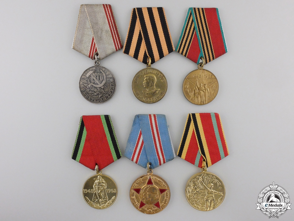 eMedals-Six Soviet Medals, Decorations and Awards