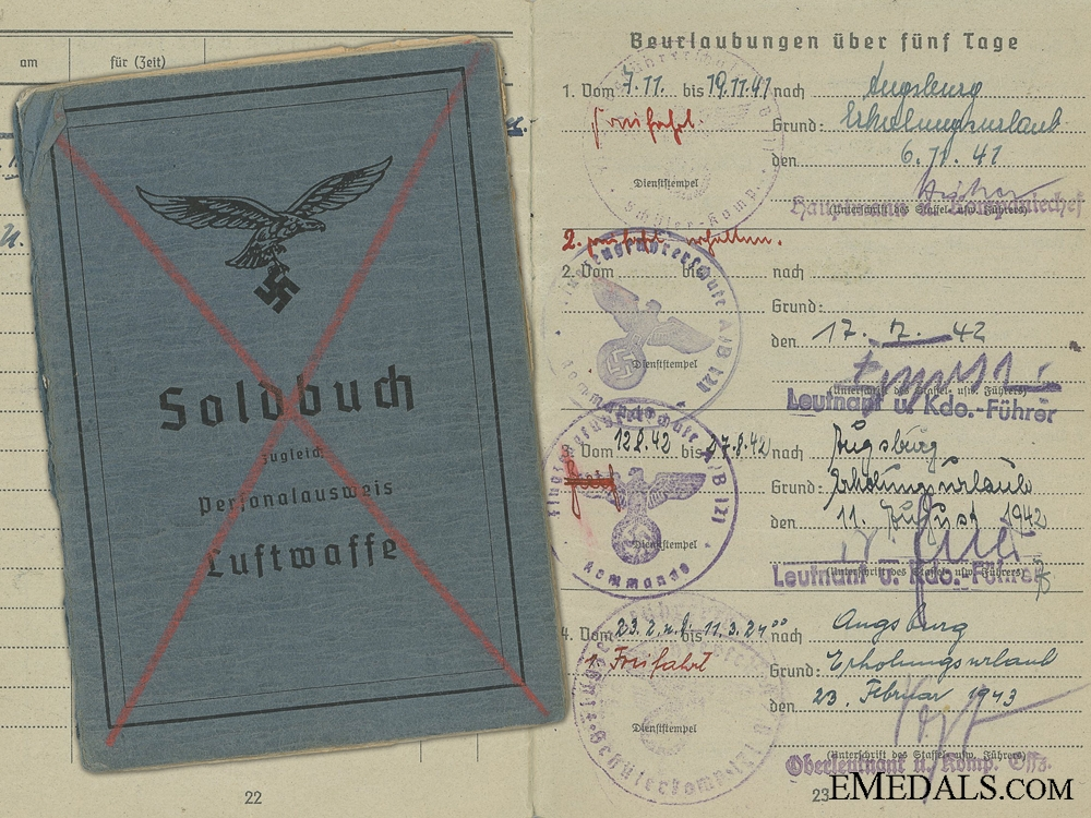 eMedals-Soldbuch of Fighter Pilot Koderer; Shot Down 1943 over Croatia