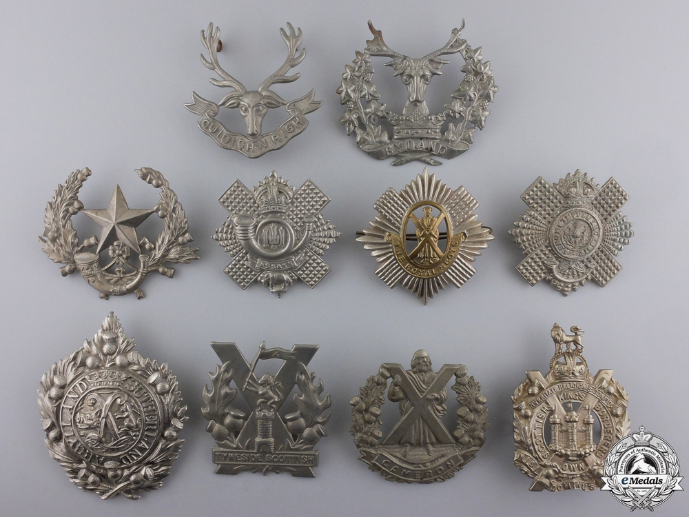 eMedals-Ten First War British Cap Badges