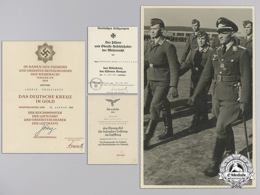 eMedals-The Award Documents to Luftwaffe Ace Major Ludwig Franzisket