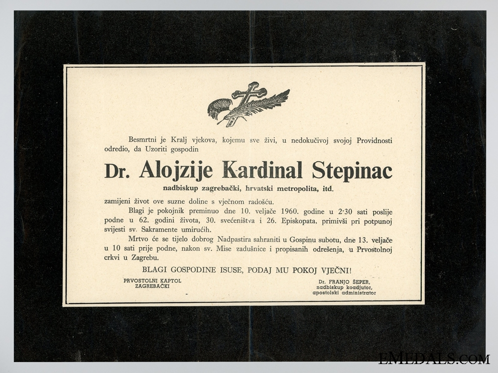 eMedals-The Death Notice of Cardinal Stepinac