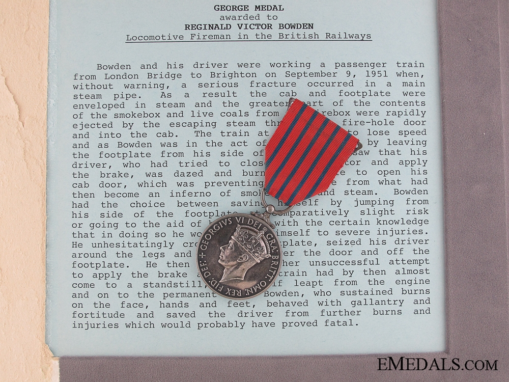 eMedals-The George Medal for Railway Heroism