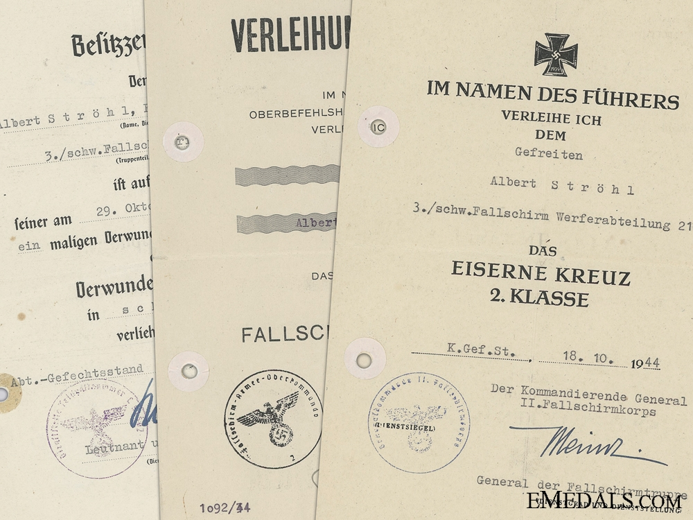 eMedals-Three Award Documents to the 2nd Fallschirmj¡_ger Korps