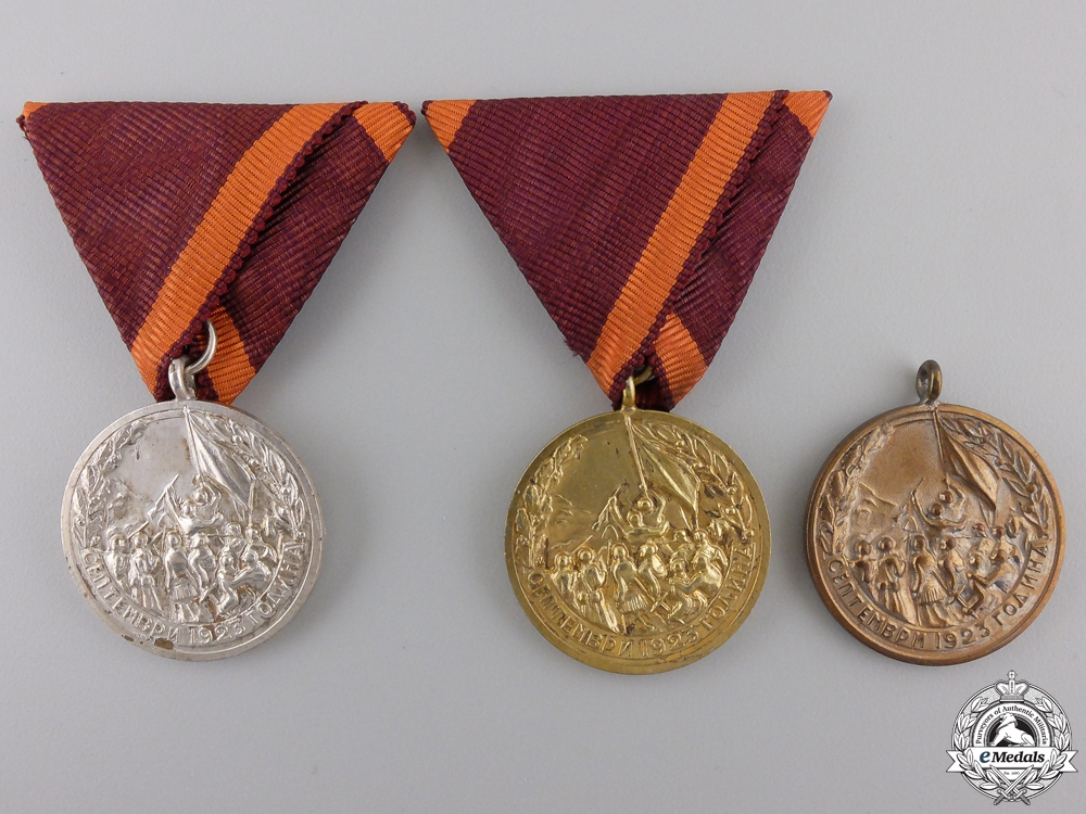 eMedals-Three Bulgarian Medals for Participants in the September 1923 Uprising