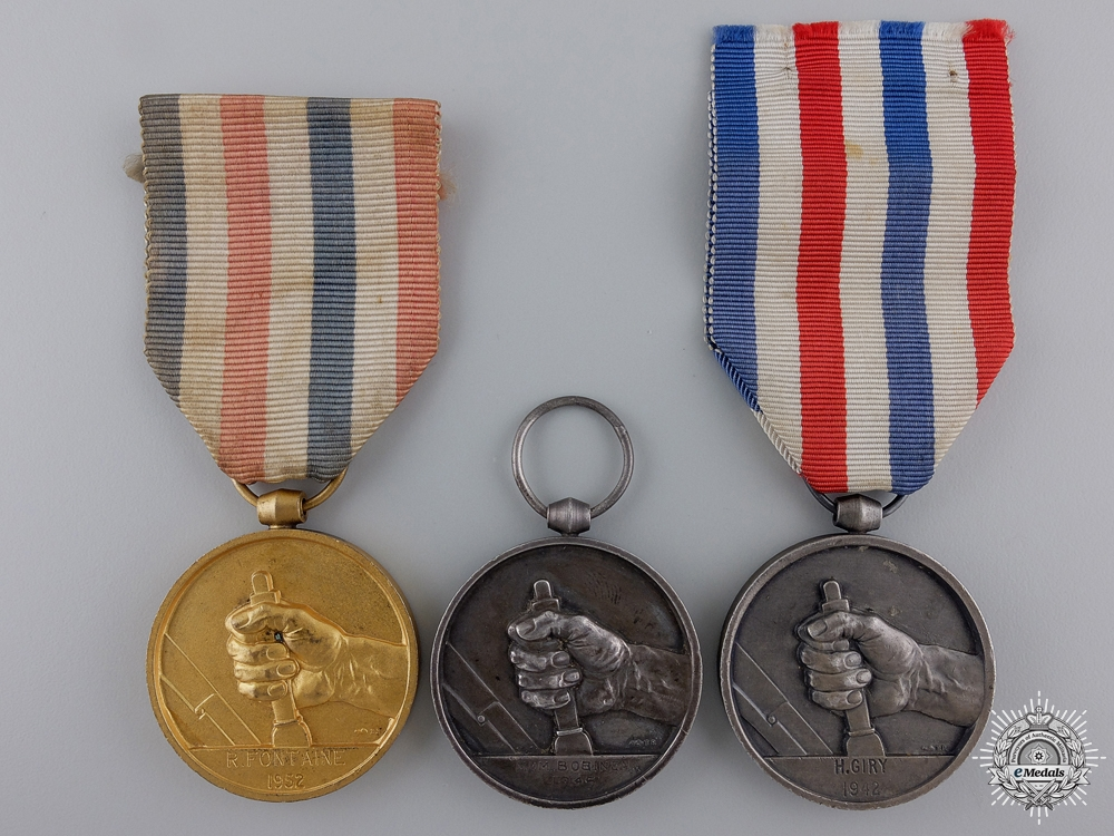 eMedals-Three French Medals of Honour for Railway Service
