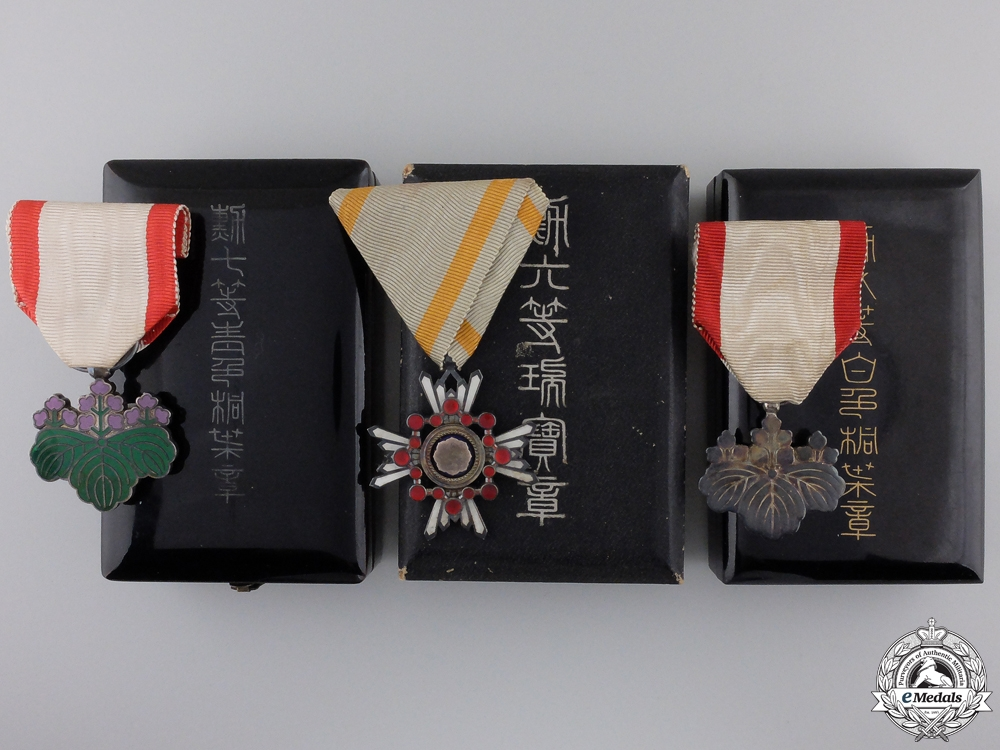eMedals-Three Japanese Orders with Cases