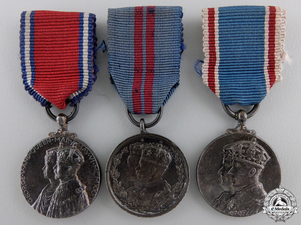 eMedals-Three Miniature British Coronation and Jubilee Medals