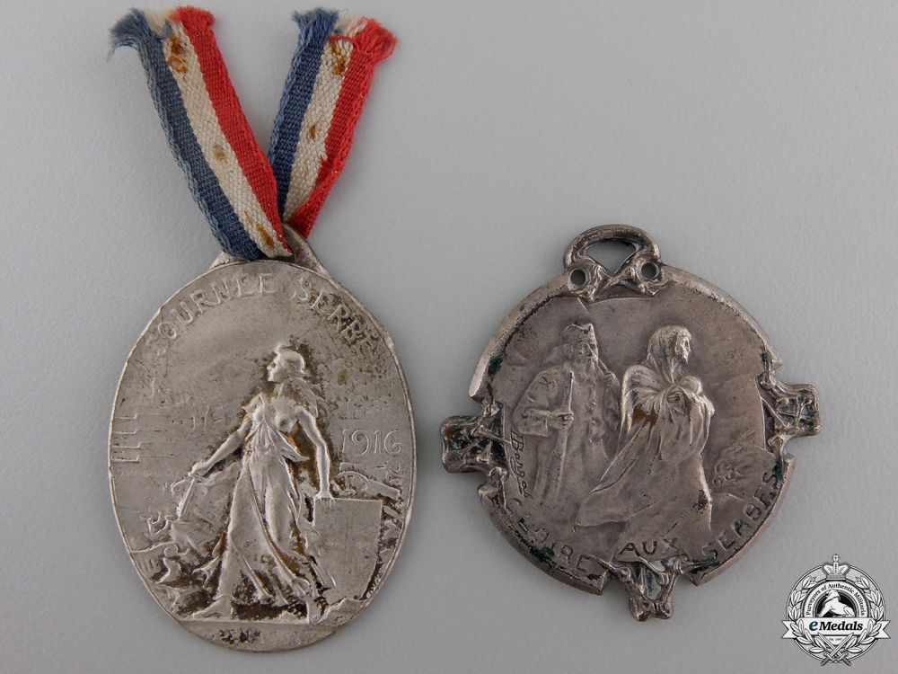 eMedals-Two 1916 French - Serbian Tribute Medals
