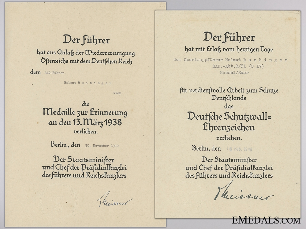 eMedals-Two Award Documents to RAD Leader; West Wall & Anschluss Medal