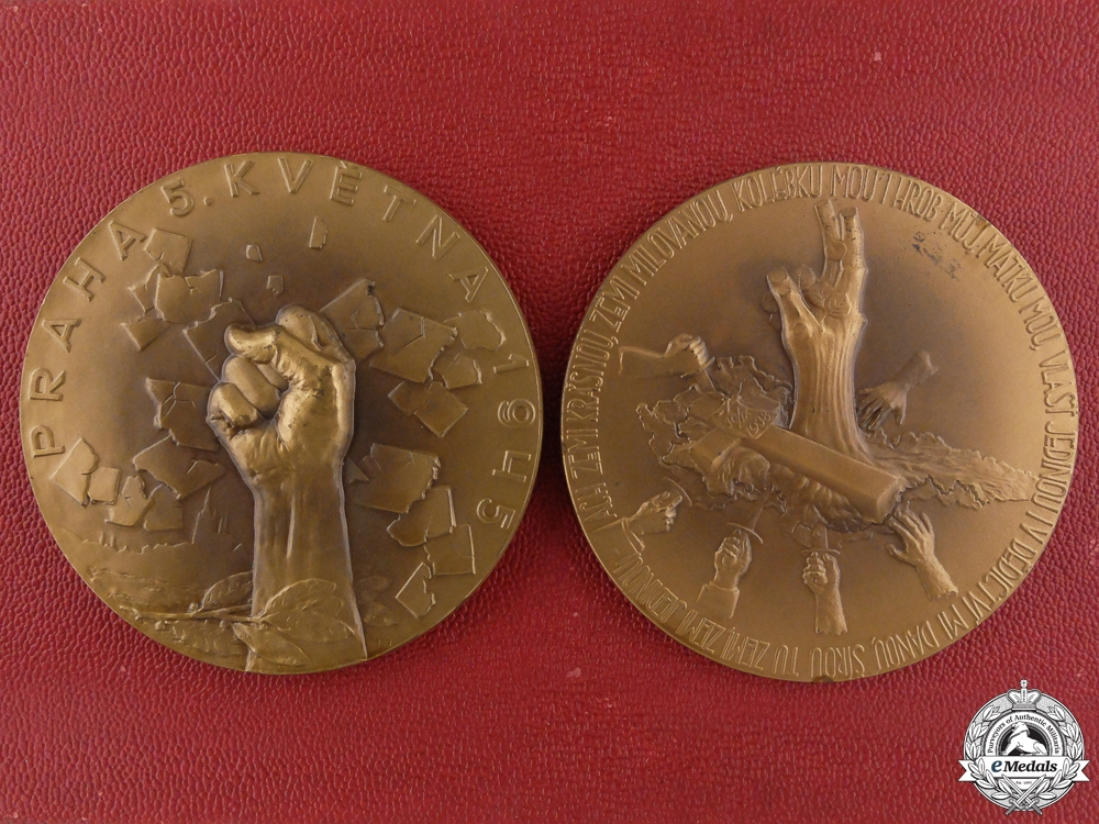 eMedals-Two Czech Second War Liberation Table Medals with Case