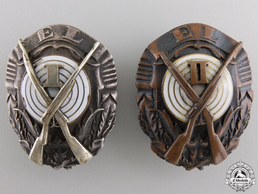 eMedals-Two Estonian Army Shooting Badges; 1st and 2nd Class